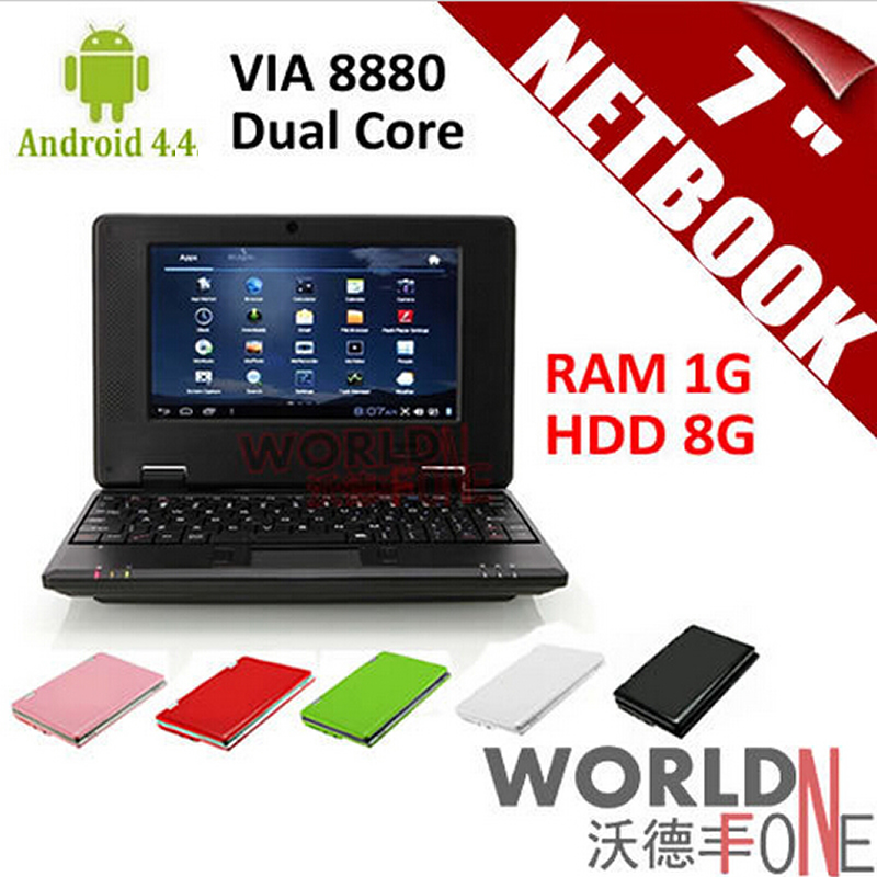 "Brand New 7 inch 7"" Netbook Mini Laptop VIA8880 Dual Core PC Android 4.4.2 Wifi 1G RAM 8G HDD HDMI (Russian Keyboard Option)(China (Mainland))"