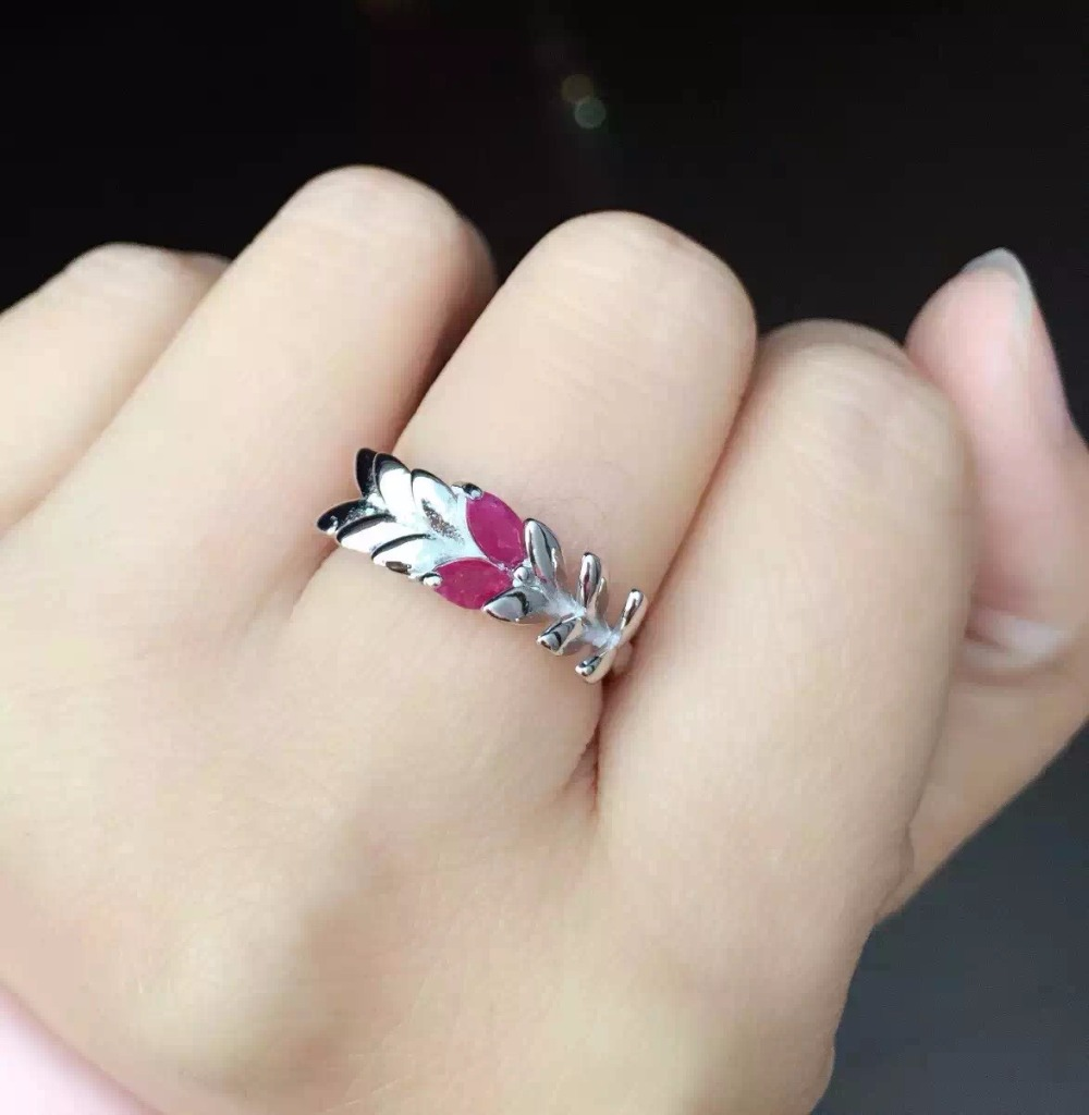 Fashion luxury  Row Pine needles natural red ruby stone ring 925 sterling silver natural gem stone ring women party fine Jewelry<br><br>Aliexpress