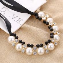 Mode Femmes Maxi Colliers Noir Corde Chaîne Chaîne Imitation Perles Perles Cristal Collier Sautoirs Chunky Colliers et Pendentifs(China (Mainland))