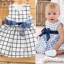 2015 Free Shipping Cute Lovely Comfortable Baby 0-3 Years Toddler Girl Cotton Sleevless Blue Plaid Bow-knot Belt Dress Clothes(China (Mainland))