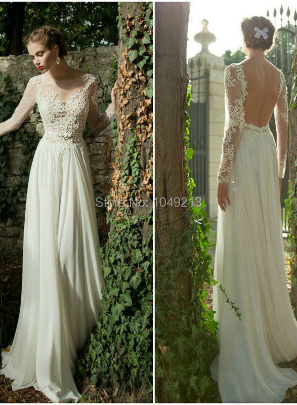 Long Flowy Dresses With Lace Sleeves Images