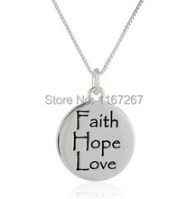"""2015 new style Graffiti  Letter """"Faith Hope Love"""" silver Pendant necklace best friend necklace Wholesale jewelry(China (Mainland))"""