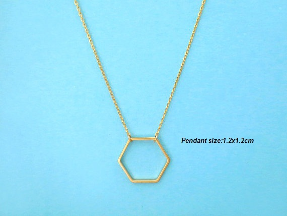 30pc 2012 New 1pc Geometric Gold and Silver Hexagon necklace for Women Simple Plain Long Chain Jewelry Necklace XL-142(China (Mainland))