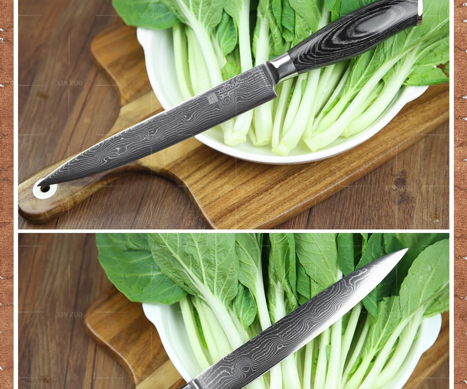 Buy 5 pcs kitchen knife set Japanese 73 layer Damascus steel kitchen knife chef cleaver paring bread knife wood handle free shipping cheap