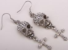 Skull skeleton cross dangle earrings for women biker punk crystal jewelry  EM35  wholesale dropshipping(China (Mainland))