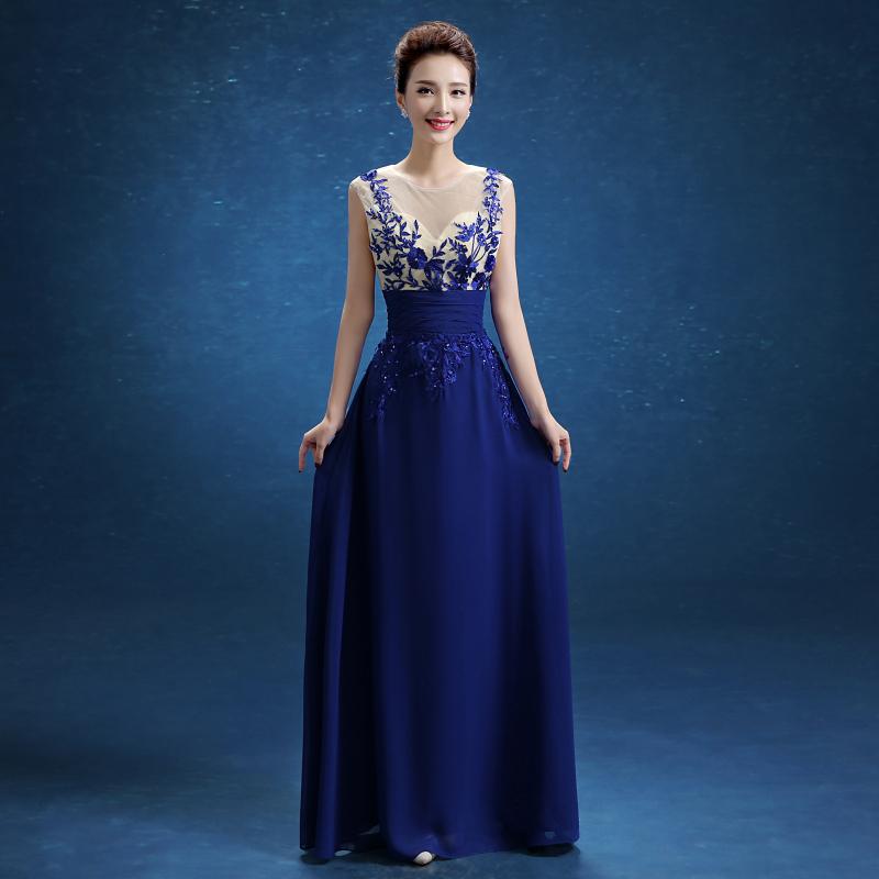 Elegant Royal Blue A-line Scoop Empire Floor-length Evening Dress Slim Chiffon Long Weddings & Events Prom Dresses(China (Mainland))