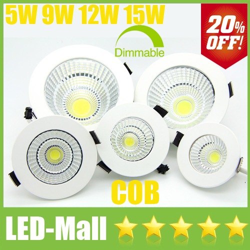 Limited 20% OFF-CREE COB 5W 9W 12W 15W LED Downlights+Dimmable Power Supply Fixture Recessed Ceiling Down Lights Lamps CSA SAA(China (Mainland))