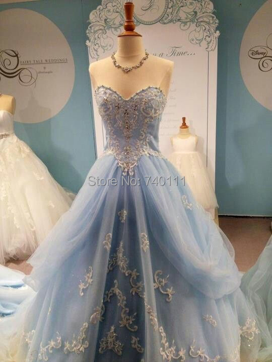 Cinderella Wedding And Evening Gowns : Light blue cinderella wedding dress sheath appliqued and draped bridal