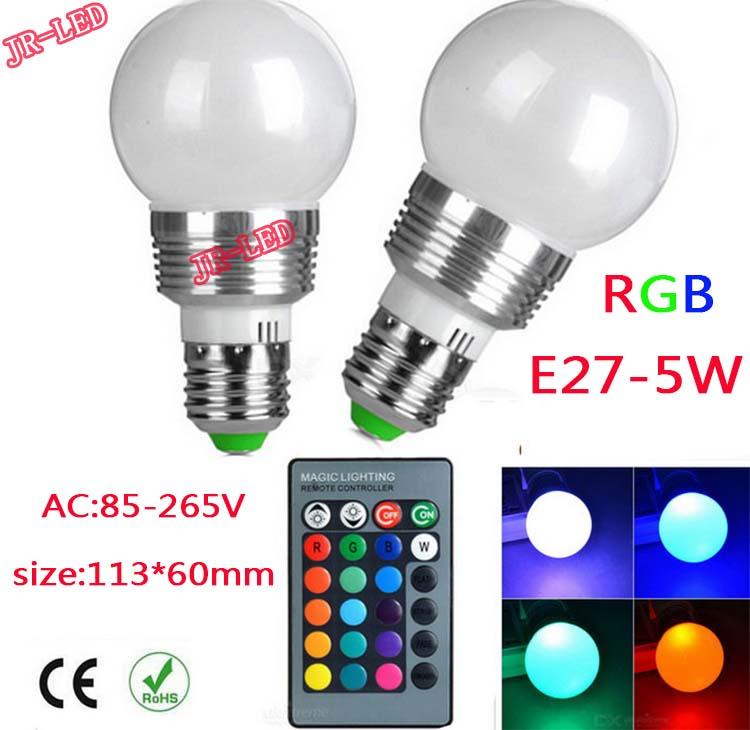 1Pcs E27 E14 GU10 LED RGB Bulb lamp AC110V 220V 5W LED RGB Spot light  magic Holiday RGB lighting+IR Remote Control 16 colors<br><br>Aliexpress