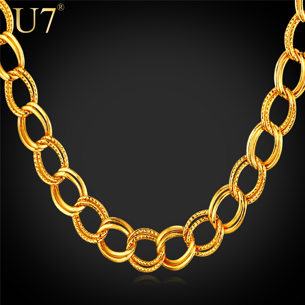 U7 Big Chunky Gold Chain Men Jewelry 2015 New Trendy 18K Gold /Platinum Plated Hip Hop Punk Rock Men Necklace Wholesale N464(China (Mainland))