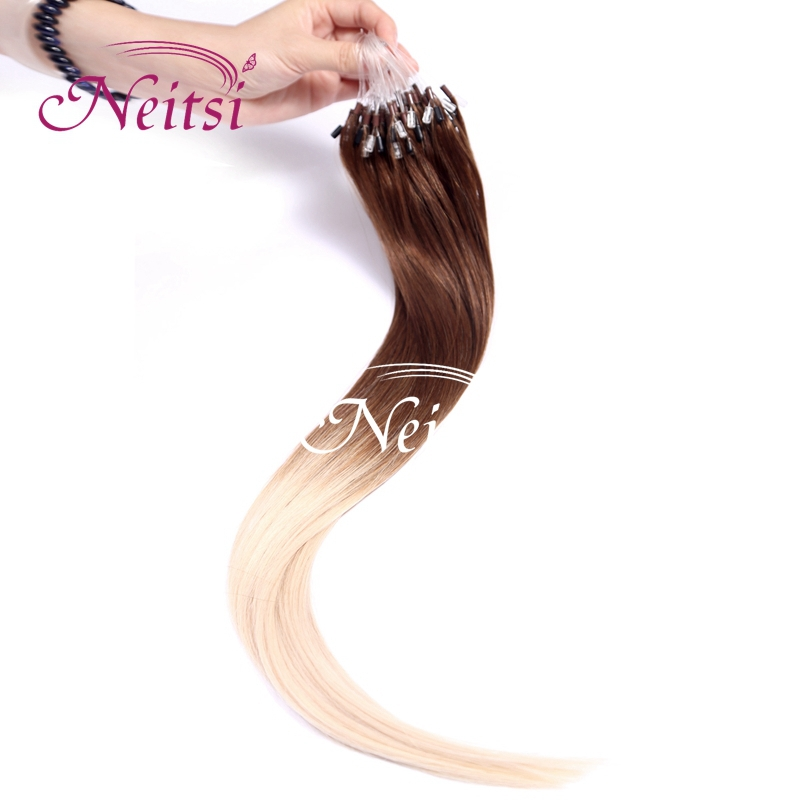 """Neitsi Micro Loop Ring Ombre Hair Extensions Kinky Straight 20"""" 1g/s 100g Indian Remy Hairpieces T6/60# Ombre Soft Thick Hair(China (Mainland))"""
