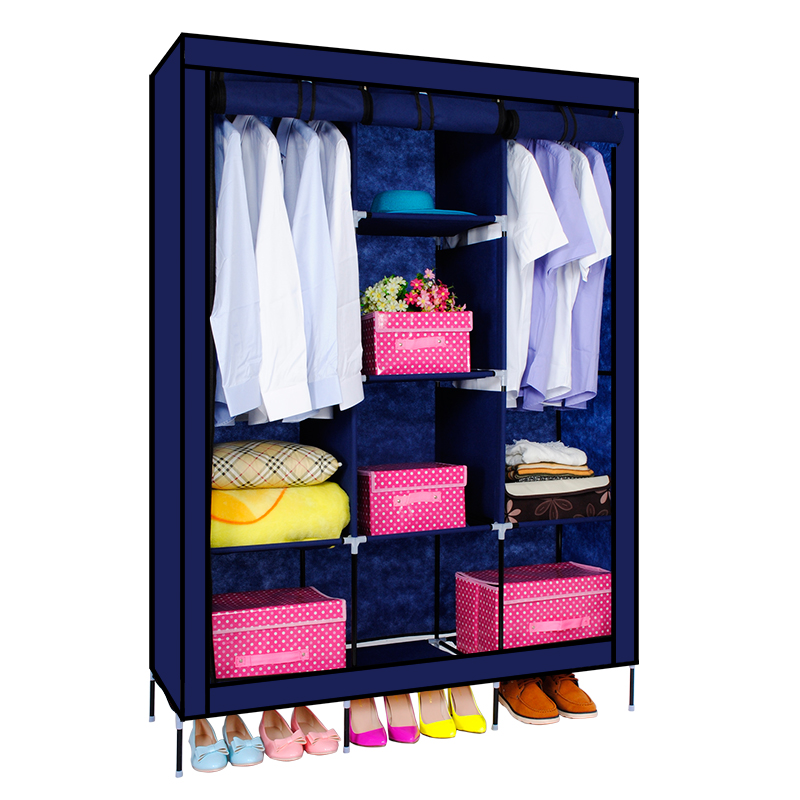 navy triple wardrobe metal portable closet non woven fabric bedroom