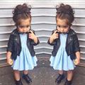 New Toddler Leather Jacket Blazer Girls Cardigan kinderkleding Long Sleeves Outerwear Zipper Baby Girl Coats And