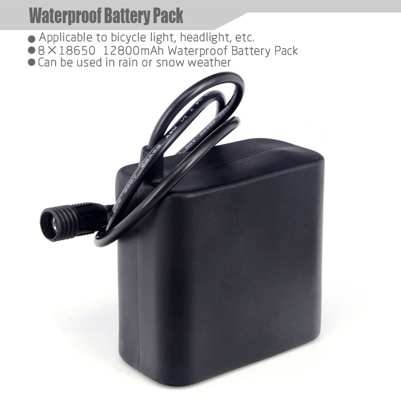 High-capacity Battery Pack 8X18650 Rechargeable Used for Cree XML LED Bicycle Light Headlight 12800mAh 8.4v Waterproof<br><br>Aliexpress