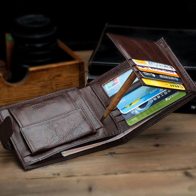 2015 Hasp 100% Genuine Leather Men's Wallet Porte Monnaie Coin purse Pochette Man wallet Fashion Design Walet Free shipping(China (Mainland))