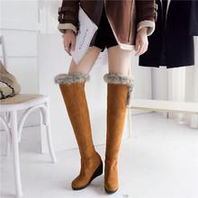Nueva mujer de la llegada ronda Faux Suede Slip On botas de nieve zapatos de piel para mujer de felpa más el tamaño 3 colores(China (Mainland))
