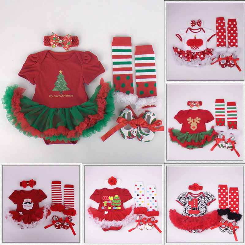 Toddler Baby Girls Christmas Tree Print Rompers Tutu Leggings Shoes with Flower Headbands 4pcs Outfits Sets Infant Clothes Set(China (Mainland))