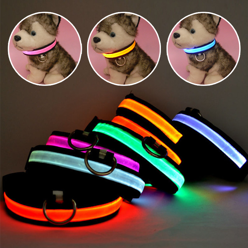 Free shipping New Safety Pet Products LED Dog Collar Nylon Light-up Flashing Glow LED Collars S M L XL Neck Strap For Small Dog(China (Mainland))