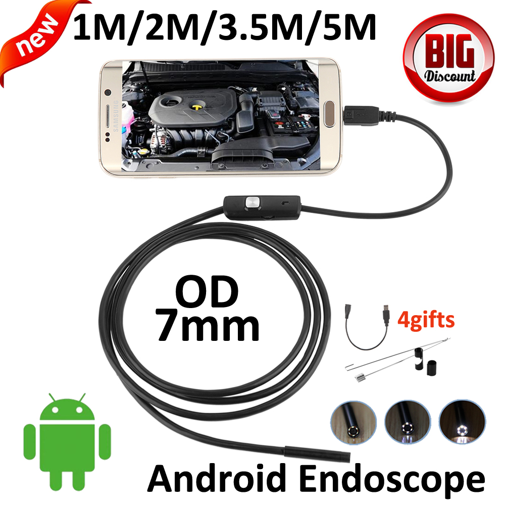 7mm lens Micro USB Android Endoscope Camera 5M 3.5M 2M 1M Snake Snake USB Pipe Waterproof HD720P 6LED OTG USB Borescope Camera(China (Mainland))
