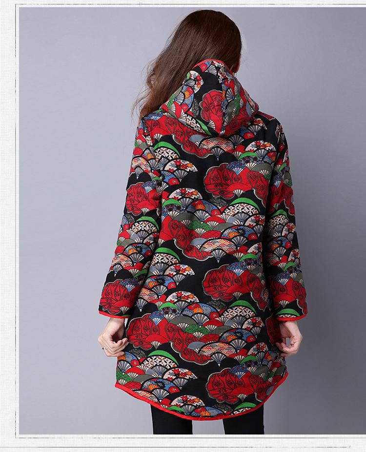 Скидки на Женщины Национальный Стиль Большой Размер Печати Длинное Пальто Толстый Хлопчатобумажный С Капюшоном Длинные Верхняя Одежда Белье Макси Зимнее Пальто Осень Зима