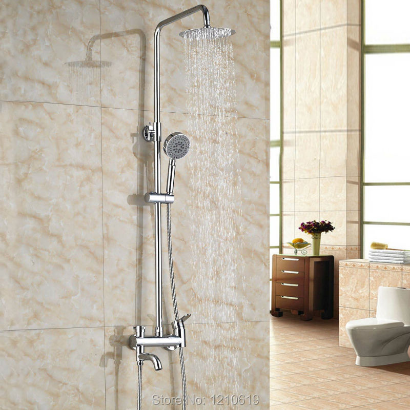 Newly Rainfall Shower Faucet w/ Hand Shower Chrome Polished 8