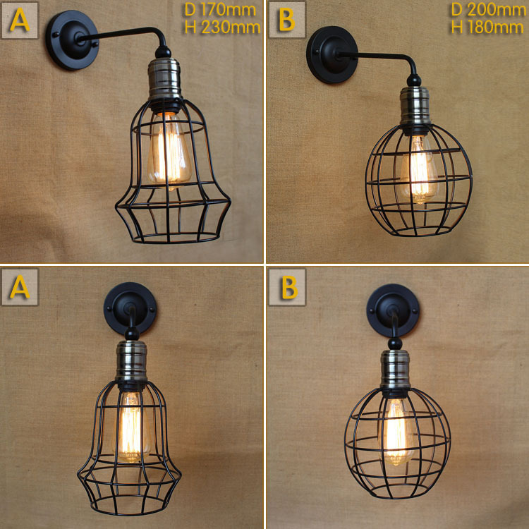 American Industrial Vintage Metal Wall Lamp Loft Retro Aisle Restaurant Creative Cage Decoration Wall Lamp Free Shipping<br><br>Aliexpress