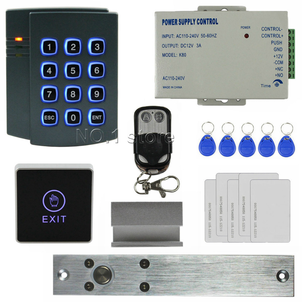 DIY Complete RFID 125KHz Keypad Access Control System Kit + Electric Bolt Lock + Power Supply + Touch Switch 2501(China (Mainland))