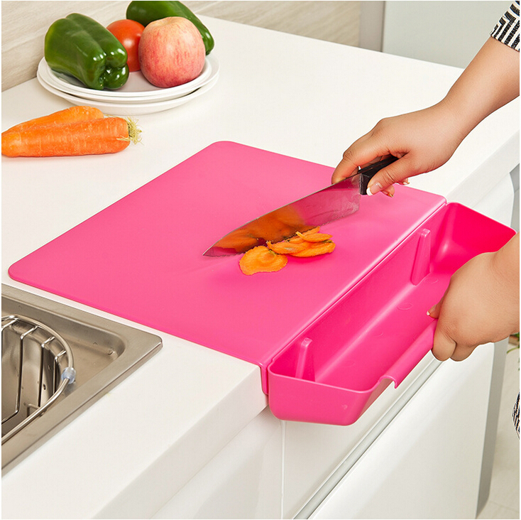 Creative foldable cutting board antibacterial cutting board kitchen chopping vegetables basket with removable cutting board 940g