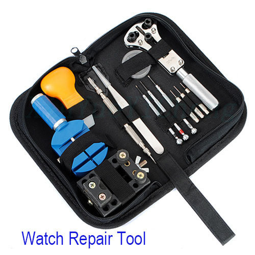 13PCS Watch Tool Set Watch Repair Tools Kit Watch Tools Watchmakers Professional Set With Leather Sheath 13xtools&3x Bits/Pins(China (Mainland))