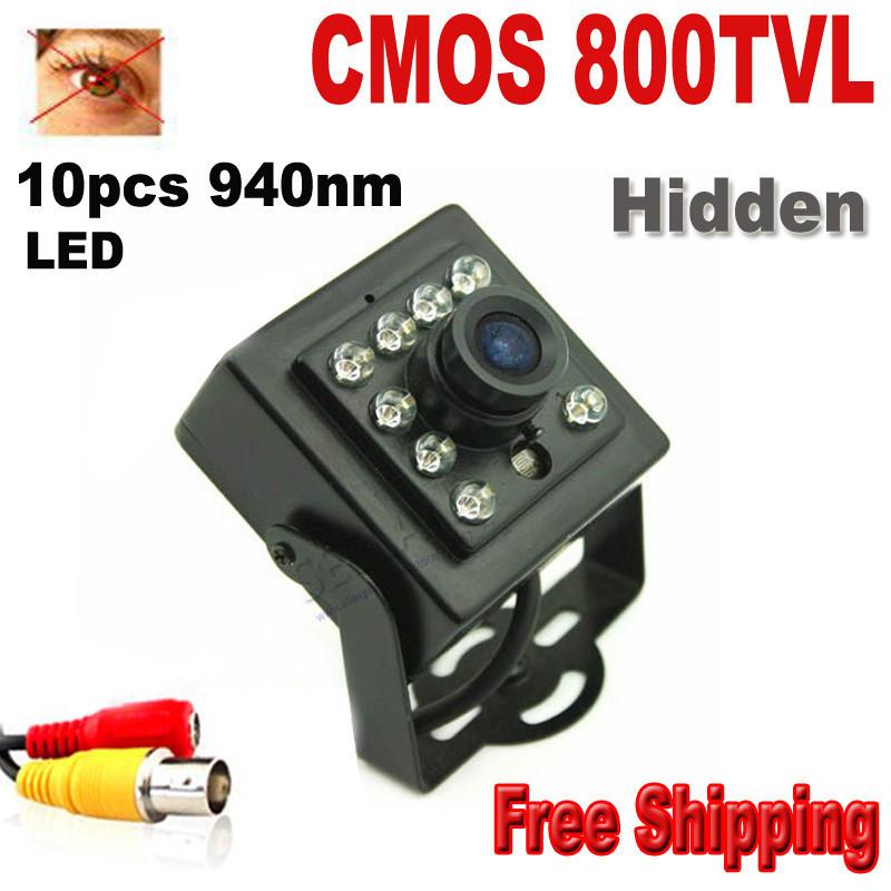 HQCAM 800TVL 10PCS 940nm led Night vision camera 1/3″Color CMOS HD High Resolution 3.6mm Lens CCTV Camera security mini camera