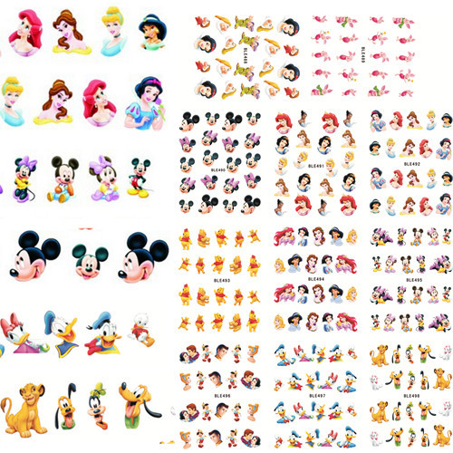 11 Styles in 1 Beautiful Princess Mouse Cartoon Water Transfer Decal Nail Stickers Nail Design for Nail Art BLE488-498(China (Mainland))