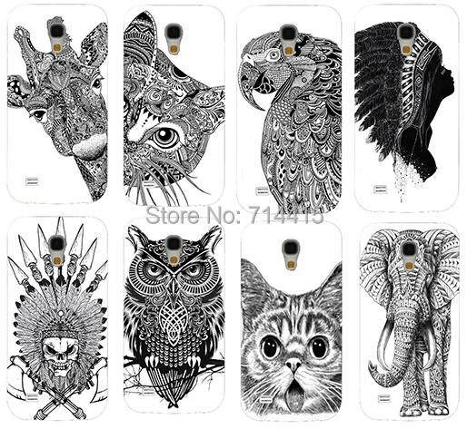 Cool Cartoon Black And White Animal pattern Cute Custom phone Back cover skin Shell for Samsung galaxy S4 mini I9190 SIV mini(China (Mainland))