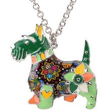 Bonsny Maxi Pernyataan Logam Paduan Enamel Anjing Skotlandia Choker Kalung Rantai Kerah Liontin Perhiasan Fashion 2017 Berita Untuk Wanita(China)