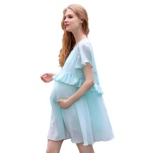 2016 Summer Style Maternity Dress Short Sleeve Boat neck Ruffles Fashion Chiffon Elegant Aline Dress Pregnancy Women Dress