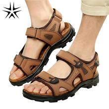 2016 New Designer Men Leather Sandals EU 38-44 Summer Outdoor Sport Man Beach Casual Shoes Absorbent Fiber Insole