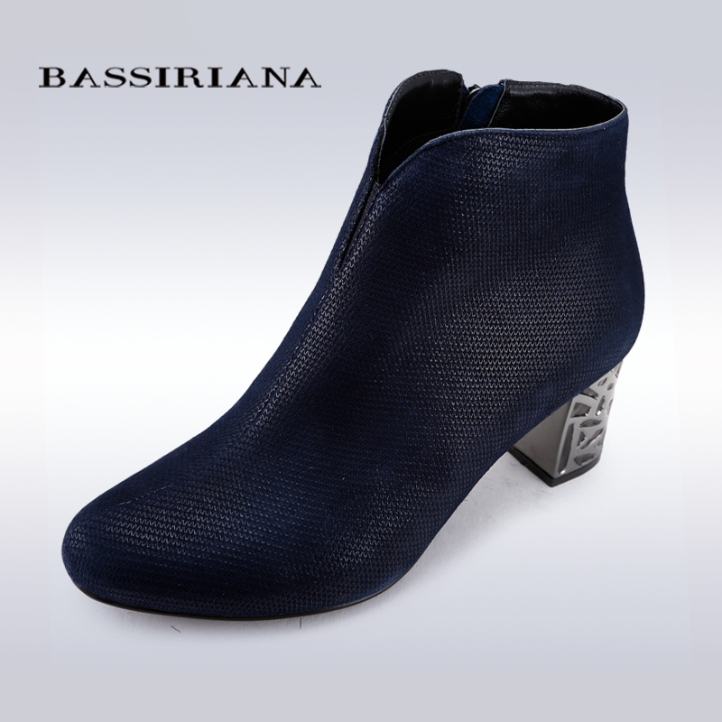 BASSIRIANA 2016 Spring/Autumn Ankle Boots For Women Medium Heel 100% Genuine suede Women's Ankle Boot Fashion Short Martin Shoes(China (Mainland))