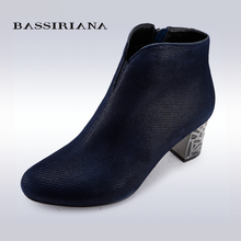 BASSIRIANA – women's ankle boots for spring season, blue and black colors, genuine suede, russian sizes 35-40, free shipping