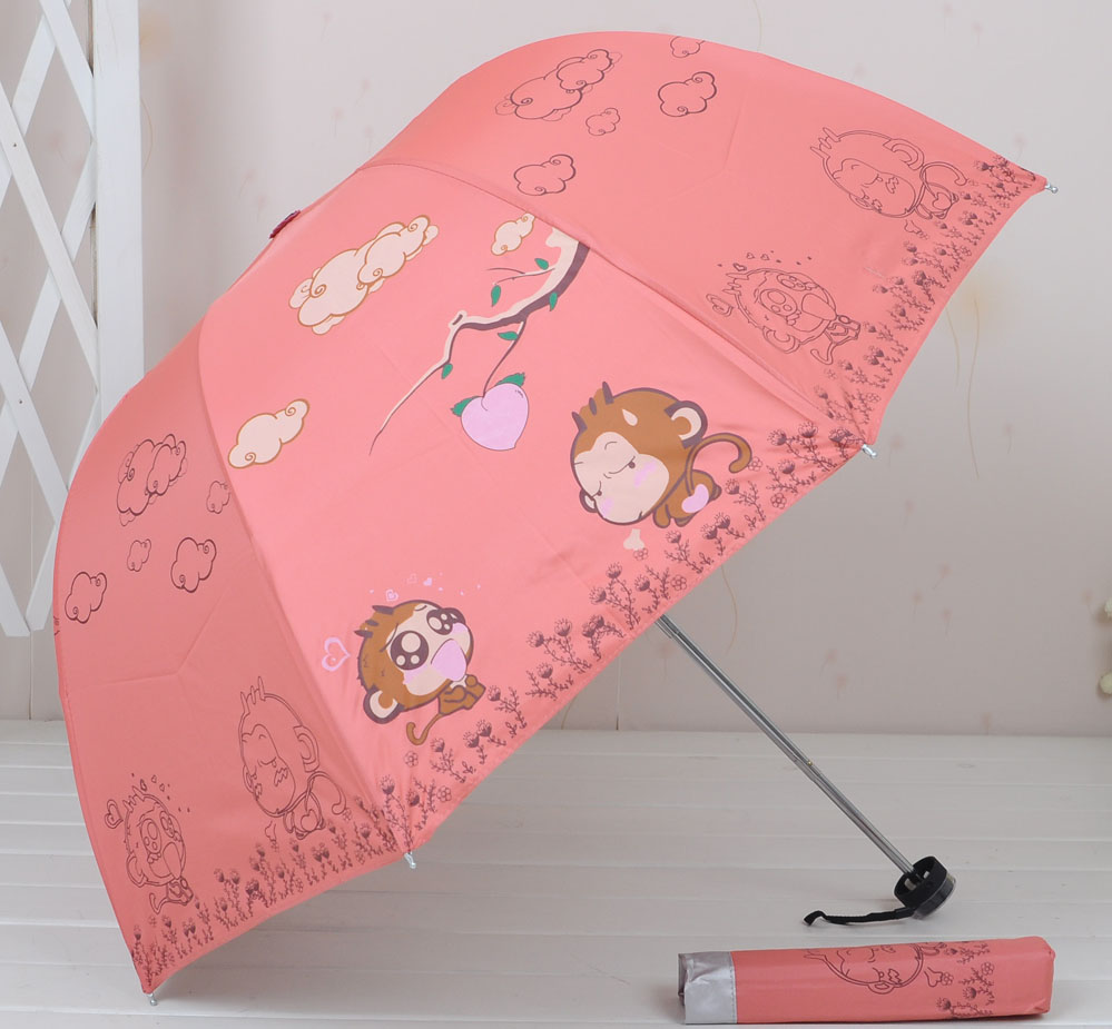 2016 Cartoon Monkey Children Umbrella Silver Coating Three Folding Sunshade Sun Protection Kid's Umbrella Free Shipping!(China (Mainland))