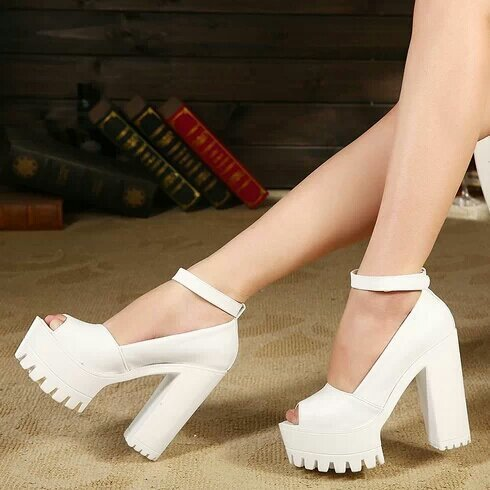 2015 Summer Shoes Women Sandals Platform Shoes Thick Heel Gauze Open Toe High Heels Sandals For Women White Black Sandale Femme(China (Mainland))