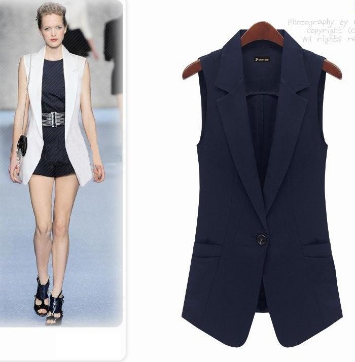 Women Vest Fashion Slim Medium-long Summer Vest One Button White Vest Outerwear Female Lady 2015 Spring Autumn