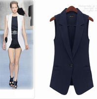 Women Vest Fashion Slim Medium-long Summer Vest One Button White Vest Outerwear Female Lady 2015 Spring Autumn