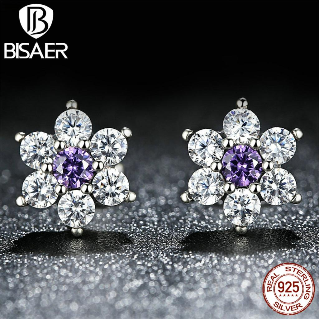 BISAER 925 Sterling Silver Forget Me Not, Purple & Clear CZ Earrings for Women boucle d'oreille Compatible with Pandora Jewelry(China (Mainland))