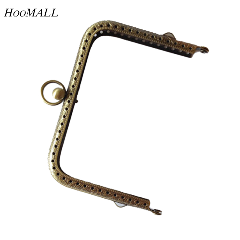 Hoomall Bag Accessories 11CM Square Metal Purse Frame Kiss Clasp Lock Silver Bronze Clutch Purse Handles For Making Handbags(China (Mainland))