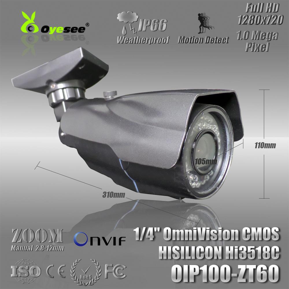 720P outdoor camera Manual Zoom Lens onvif free shipping support ip camera setup(China (Mainland))