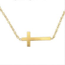 2016 Sideways Cross Charm Necklaces Gold Plated Stainless Steel Chain Pendant Necklace Women Vintage Fine Jewelry Accessories(China (Mainland))