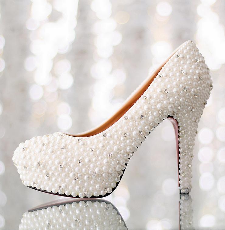 Bridal Shoes High Heels Platform Diamond Wedding Shoes Pearl Rhinestone Women Pumps Shoes 2015
