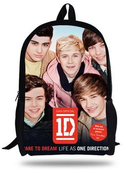 16-дюймовый Mochila школьники рюкзак 1D одно направление школы для Teengers печать ...