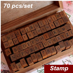 70 pcs/Set DIY stamp Standard Alphabet & Symbol wooden box Vintage decor scrapbooking Stationery Office school supplies 6717(China (Mainland))