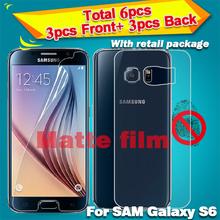 Matte Anti glare Screen Protector pour samsung galaxy s6 protecteur d'écran avant et arrière de protection Film avec le paquet de détail(China (Mainland))