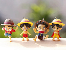 4PCS/Lot ONE PIECE Japaness Anime One Piece Mini Luffy Action Figures Toys High Quality